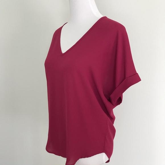 Lush Tops - Lush Short Sleeve Blouse- Cranberry